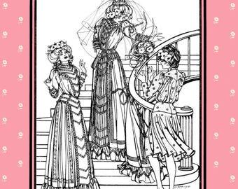 Folkwear Edwardian Bridal Wedding Gown & Afternoon Dress sizes 6-16 Sewing Pattern # 227