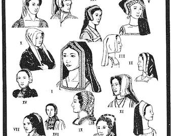 Period Patterns Tudor Era Headdresses & Hods circa 1490-1580 Sewing Pattern #52