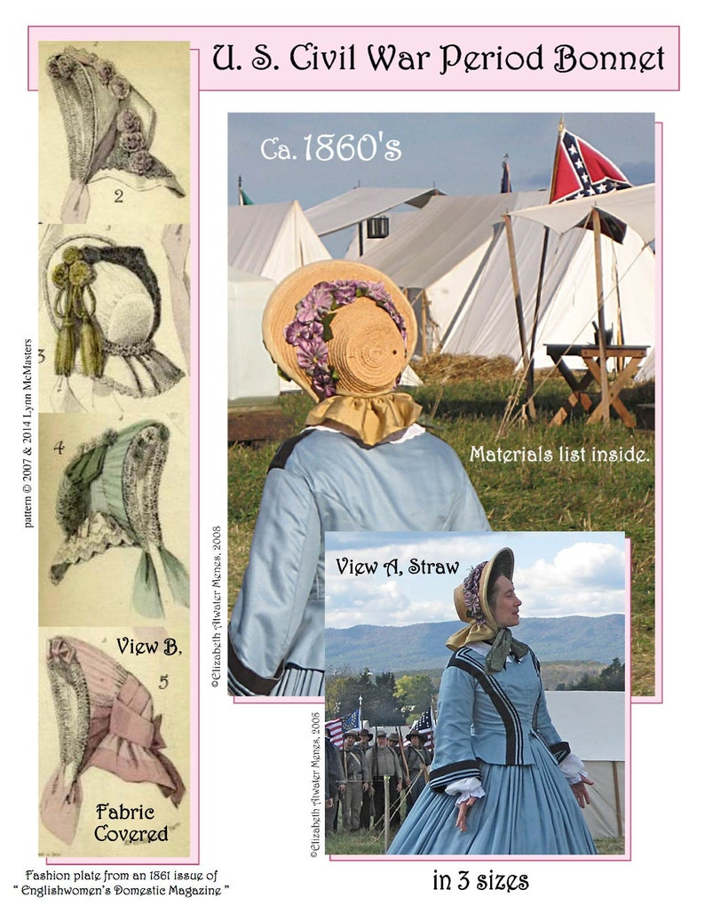Victorian Hat History   Bonnets, Hats, Caps 1830-1890s     Ladies U.S. Civil War Period Bonnet Circa 1860s Victorian - Lynn McMasters Sewing Pattern # 41 $12.95 AT vintagedancer.com