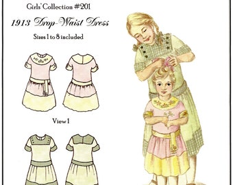 Girls' 1913 era Drop-Waist Dress sizes 1-8 Hint of History Sewing Pattern # 201