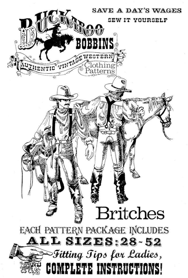 Men's Vintage Reproduction Sewing Patterns     Buckaroo Bobbins Civil War era Britches Sewing Pattern Waist Sizes 28-52 $13.95 AT vintagedancer.com