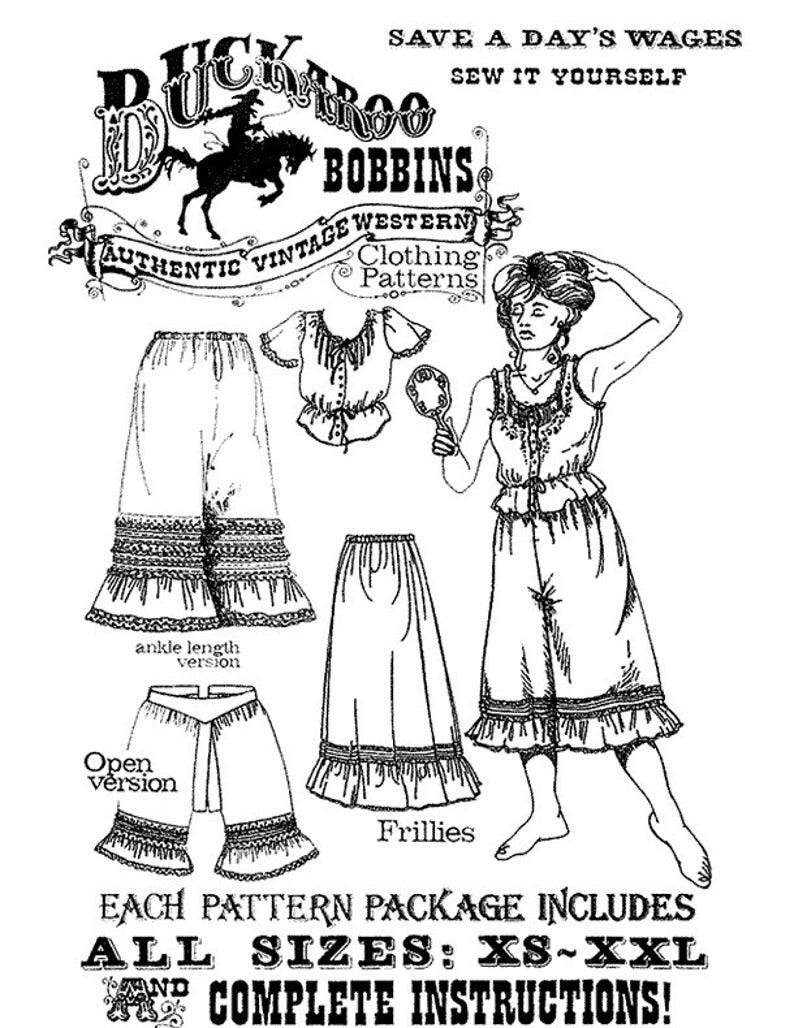 Victorian Lingerie – Underwear, Petticoat, Bloomers, Chemise     Buckaroo Bobbins Frillies - Victorian Camisole Petticoat Pantaloons Sewing Pattern sizes XS-XXL $13.95 AT vintagedancer.com
