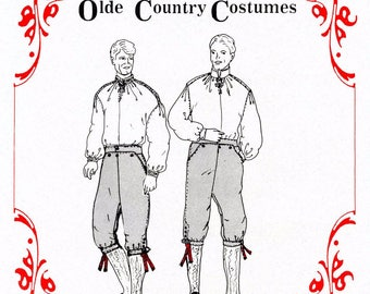 Men's Scandinavian Nordic Style Shirt & Knickers Sewing Pattern - Olde Country Costumes # 873