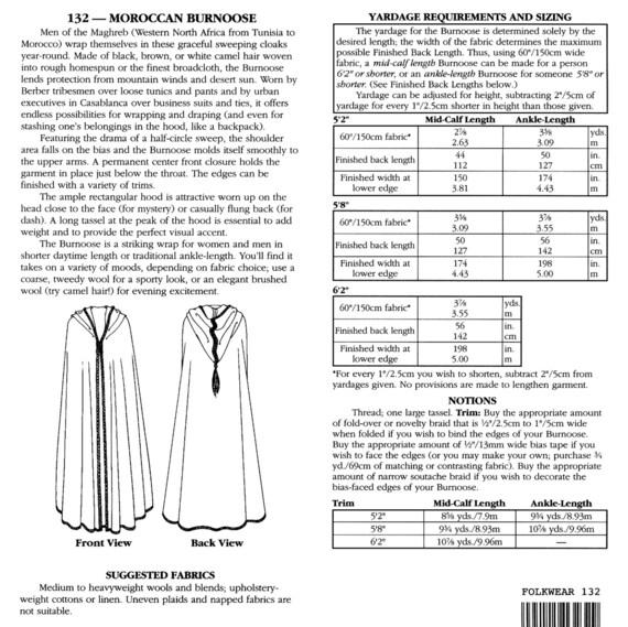 Folkwear chilaba marroquí costura patrón 132 capa o manto en 2 | Etsy