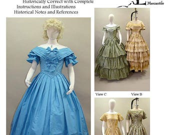Ladies' Ball Gown 1840-1863 Sizes 6-34 Laughing Moon Sewing Pattern # 117 Historically Correct Civil War era