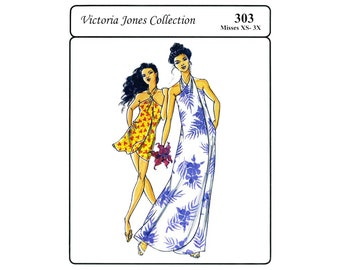 Pareau Style Wrap Dress in Long or Tunic Length - Victoria Jones Sewing Pattern #303 Size XS-3X