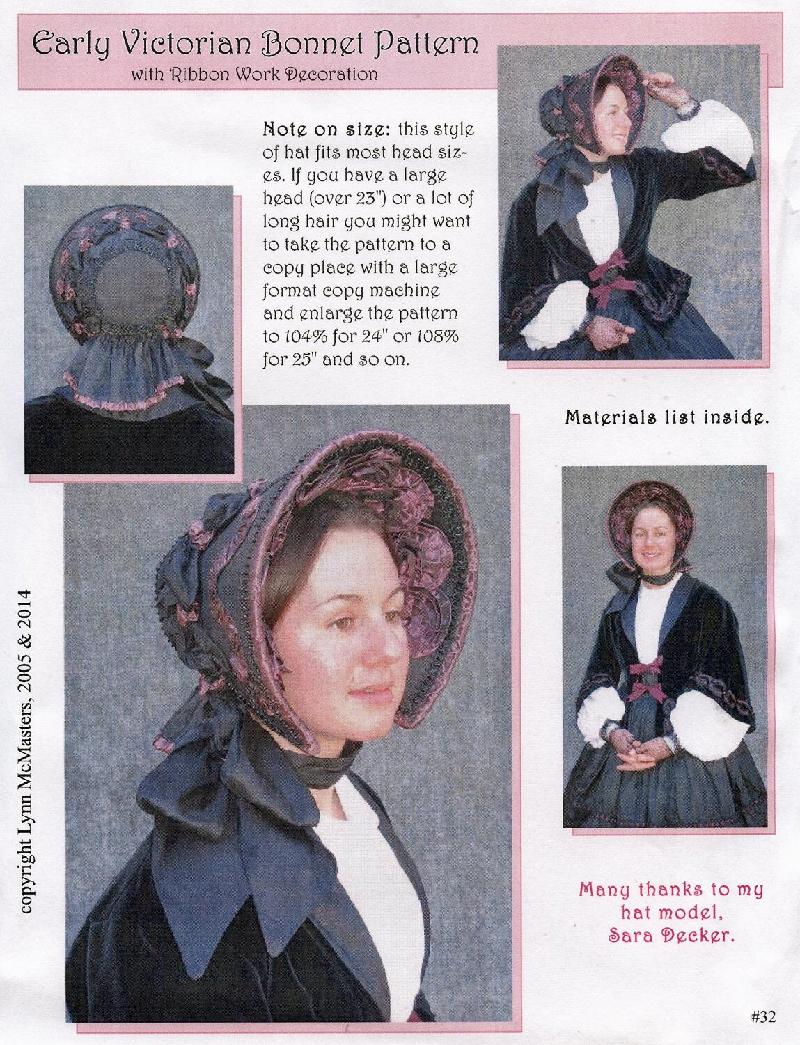 Early Victorian - Civil War era 1845-1865 Bonnet Sewing Pattern by Lynn  McMasters 96ebbf14cd8