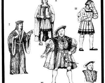 Early Tudor Men's Garments 1495-1537 Henry VIII Costume Pattern - Period Patterns Sewing Pattern 53