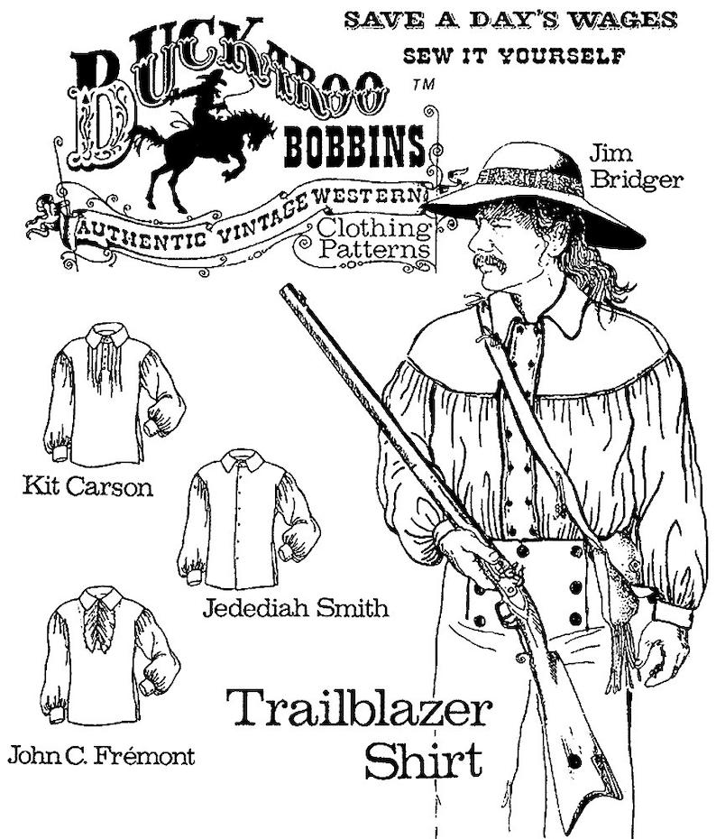 Men's Vintage Reproduction Sewing Patterns     Buckaroo Bobbins Mens Western Trailblazer Shirt size XS-6X Sewing Pattern 1700s - Civil War era $14.95 AT vintagedancer.com