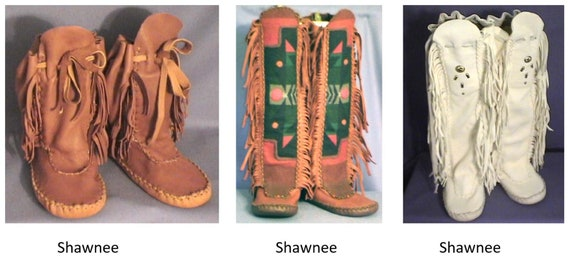 Native American Shawnee Indian Moccasin Sewing Pattern in Ankle or Knee High