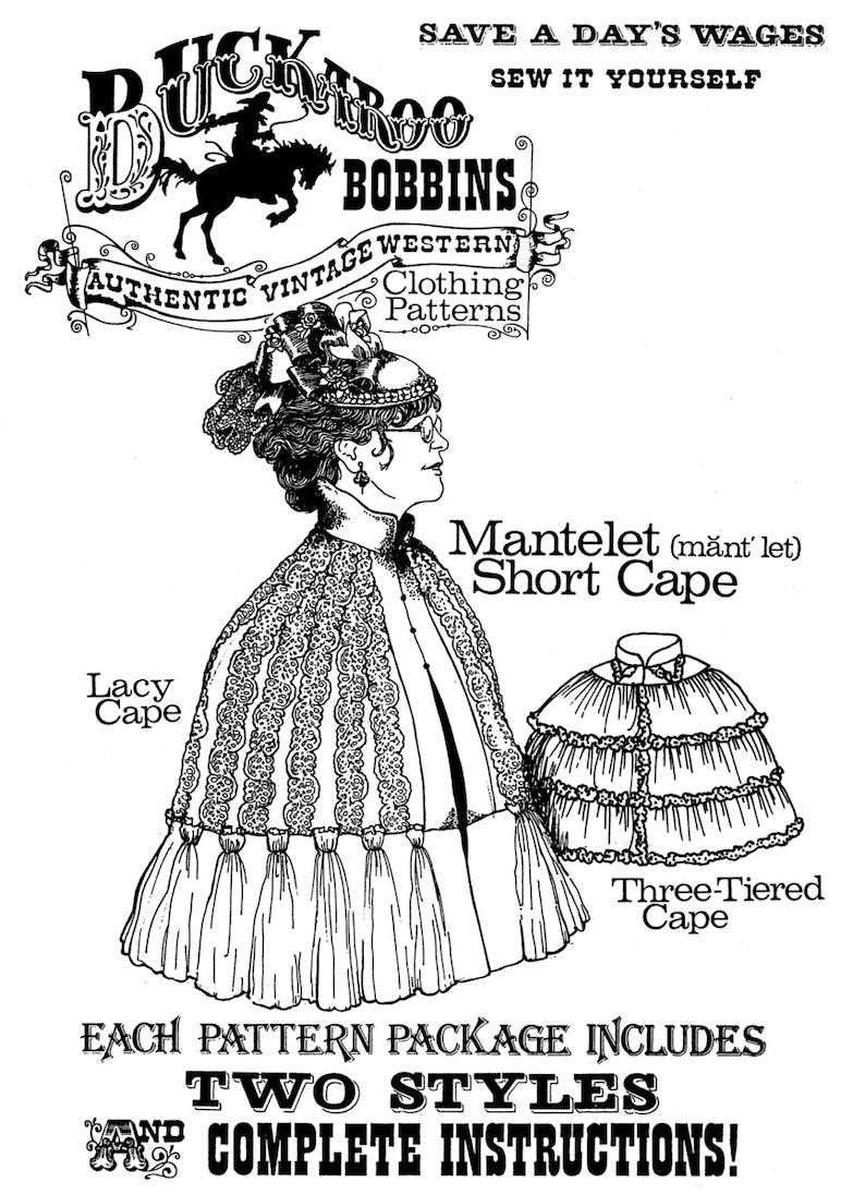 Victorian Capelet, Cape, Cloak, Shawl, Muff     Ladies Victorian 1830s-1890s Mantelet Short Cape - Buckaroo Bobbins Sewing Pattern $12.95 AT vintagedancer.com