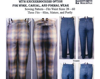Men's Mid Victorian - Edwardian Period Trousers 1850-1910 With Knickerbockers Option - Laughing Moon Sewing Pattern # 119 Waist Sizes 28-60
