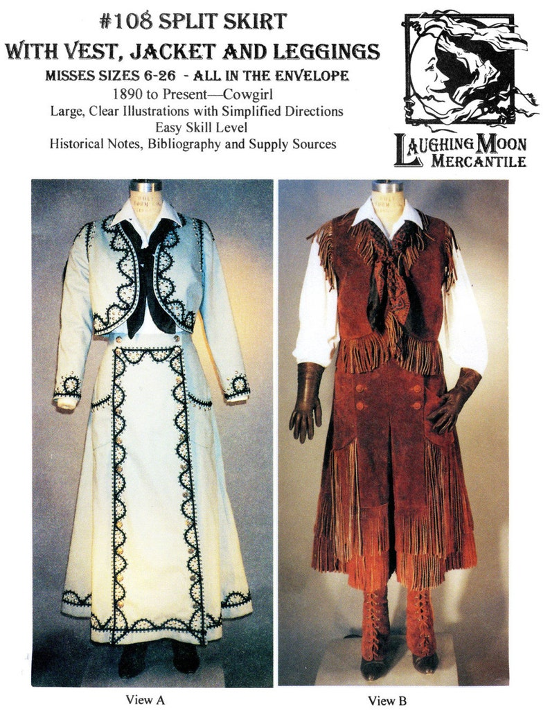 Victorian Clothing Shops: Patterns, Costumes, Custom Dresses     Cowgirl Western Split Skirt Jacket Vest Leggings - Laughing Moon Sewing Pattern 108 $17.95 AT vintagedancer.com