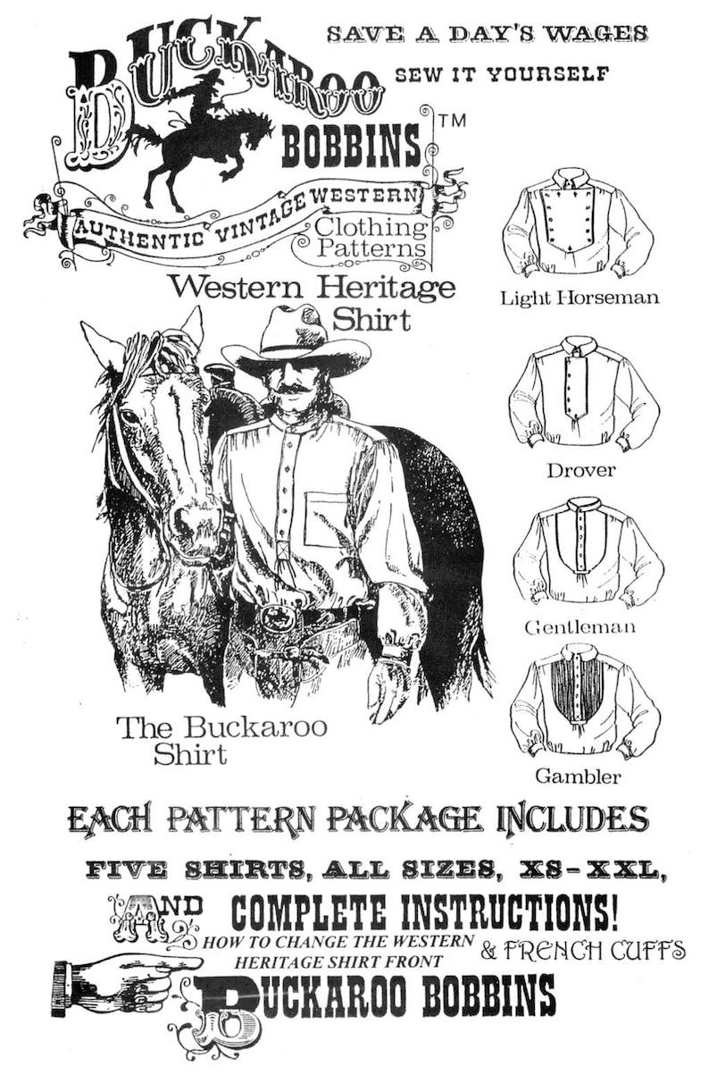 Men's Vintage Reproduction Sewing Patterns     Buckaroo Bobbins Cowboy Western Heritage Shirt Sewing Pattern sizes XS-XXL in 5 Styles 1800s-1900 era $15.95 AT vintagedancer.com