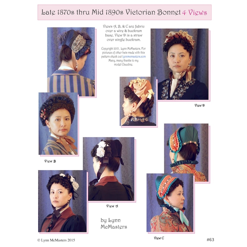Victorian Hat History   Bonnets, Hats, Caps 1830-1890s     Late 1870s thru Mid 1890s Victorian Bonnet in 4 Views Sewing Pattern 3 63 by Lynn McMasters $12.95 AT vintagedancer.com