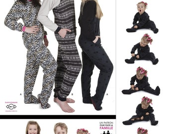 Jalie Footed Pajamas for Men, Women & Children Sewing Pattern # 3244 in 29 Sizes