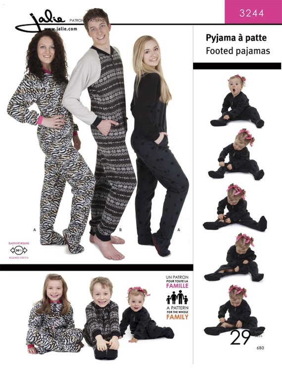 Jalie Footed Pajamas for Men Women & Children Sewing Pattern | Etsy