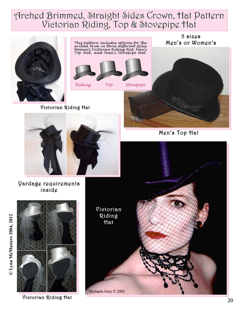 Steampunk Accessories | Goggles, Gears, Glasses, Guns, Mask     Mens Womens Arched Brimmed Straight Sides Crown Hat Pattern - Victorian Riding Top & Stovepipe Hat Sewing Pattern #20 by Lynn McMasters $12.95 AT vintagedancer.com