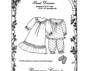 """Sweet Dreams Nightgown, Pajamas & Knitted Slippers for 18""""-19"""" Dolls - Primrose Lane Sewing Pattern"""