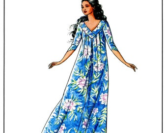 Pullover V-neck Pleated Muumuu Sewing Pattern sizes Petite - XL - Victoria Jones Hawaiian Classics # 215 Long Dress
