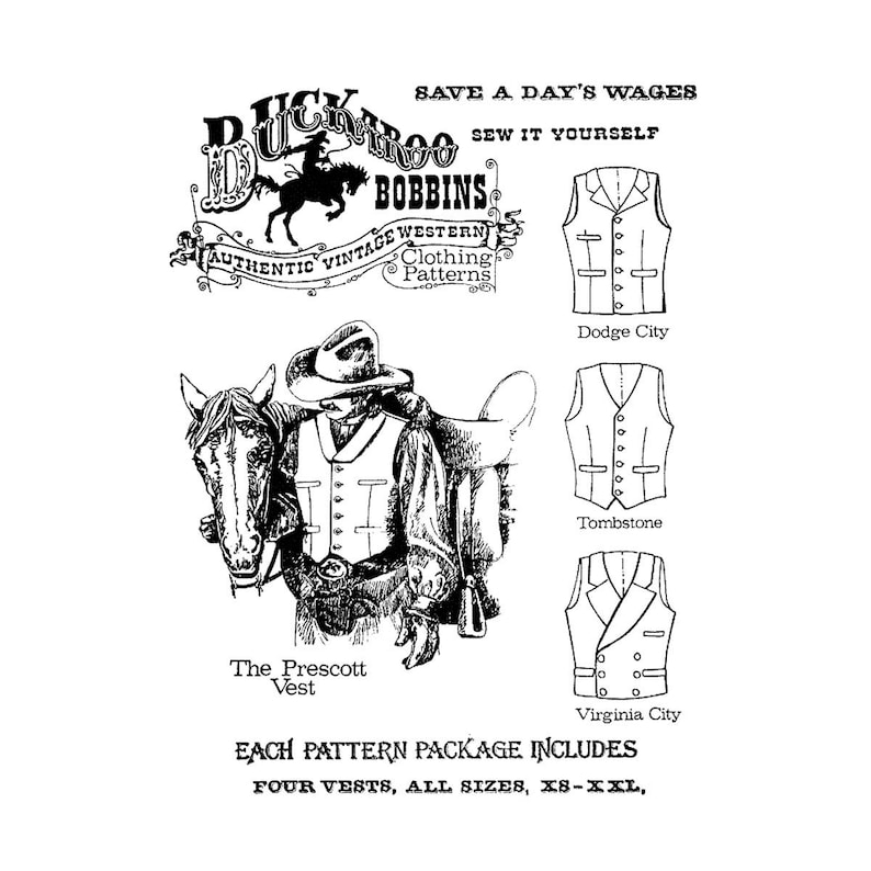 Men's Vintage Reproduction Sewing Patterns     Mens Cowboy Western Vest in 4 Styles - Chest Sizes 34-58 - Buckaroo Bobbins Sewing Pattern $13.95 AT vintagedancer.com