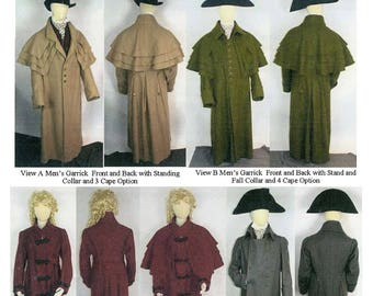 Late Georgian and Regency Greatcoat & Garrick circa 1750-1825 for Men and Women - Laughing Moon Sewing Pattern 136