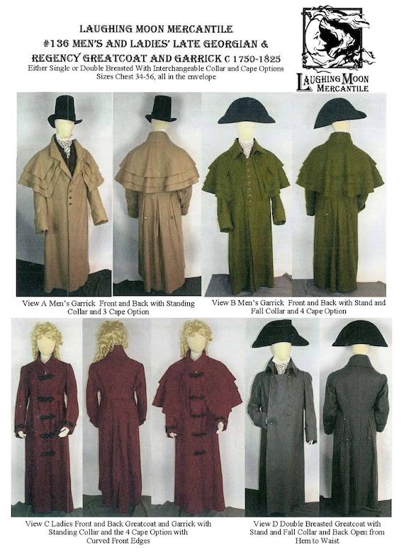 Men/'s Regency Tailcoat w//Lapel Options sz 34-56 Laughing Moon Sewing Pattern 121