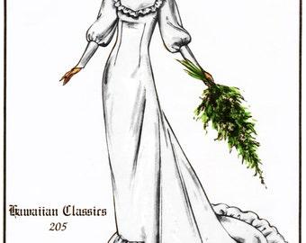 Hawaiian Holoku Wedding Dress size 8-20 Victoria Jones Sewing Pattern # 205