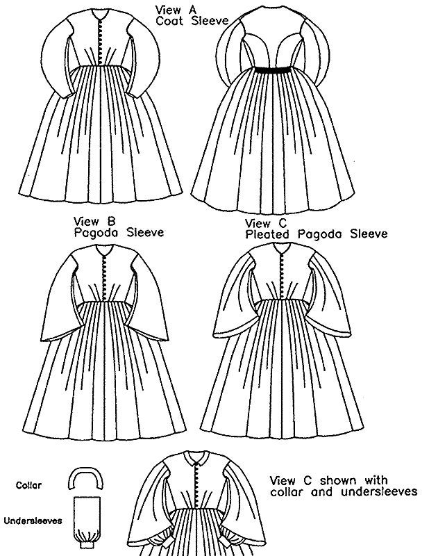 Ladies' Early 1860's Civil War Day Dress sizes 6-26