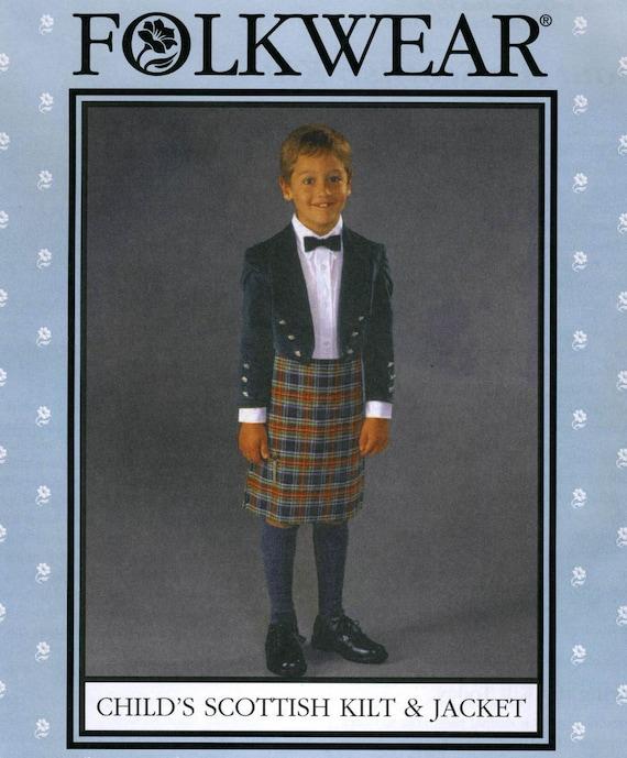 NEW Child/'s Scottish Highlanders Kilt and Prince Charlie Jacket Paper Sewing Pattern Authentic  Folkwear #154  Child/'s Size 4-14 UNCUT