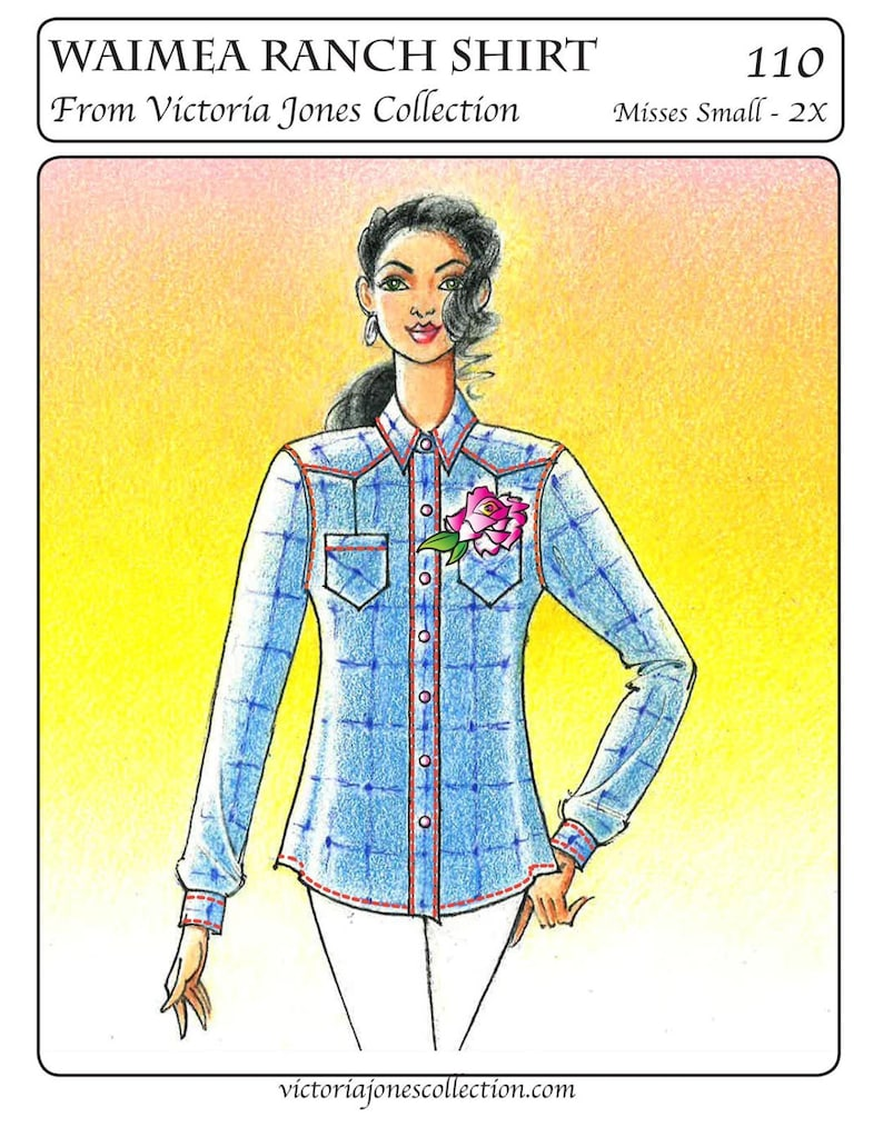 Vintage Western Wear Clothing, Outfit Ideas     Ladies Waimea Ranch Shirt sizes S-2X - Victoria Jones Collection Sewing Pattern # 110 $13.95 AT vintagedancer.com
