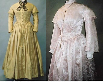 Ladies' Round Dress sizes 6-26 - Victorian 1840's-1852 - Laughing Moon Sewing Pattern # 114