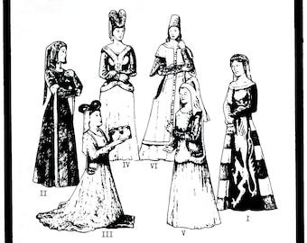 Ladies' Renaissance Cotehardies & Sideless Surcoats sizes 6-20 circa 14th-15th Century  - Period Patterns Sewing Pattern # 21