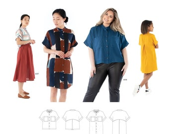 Jalie 4020 Florence Shirt and Shirtdress Sewing Pattern in 28 Sizes for Women & Girls