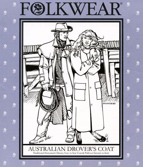 Folkwear australiano Drover capa coser patrón 137 y patrón de