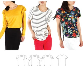 Jalie 3890 Mimosa Scoopneck T-Shirts Sewing Pattern in 3 Styles, 28 Sizes Women & Girls
