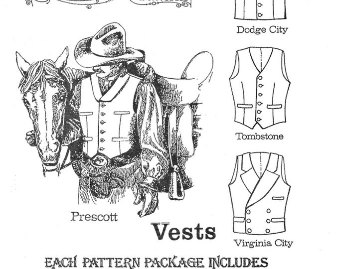 """Featured listing image: Men's Cowboy Western Vest in 4 Styles Sizes 34-58"""" Chest - Buckaroo Bobbins Sewing Pattern"""