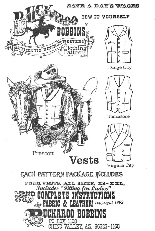 Men\'s Cowboy Western Vest in 4 Styles Sizes 34-58 Chest - Buckaroo ...