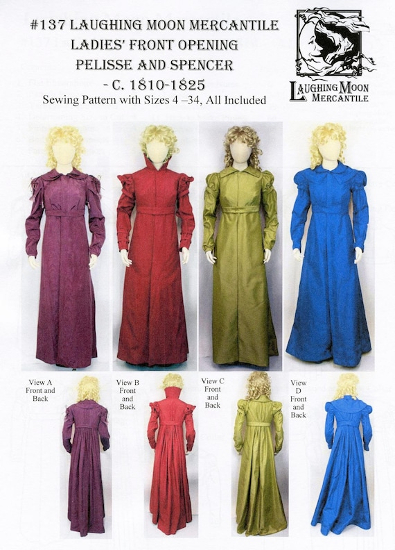 Laughing Moon Sewing Pattern 129//126 Wrapping Front Spencer /& Apron Front Gown