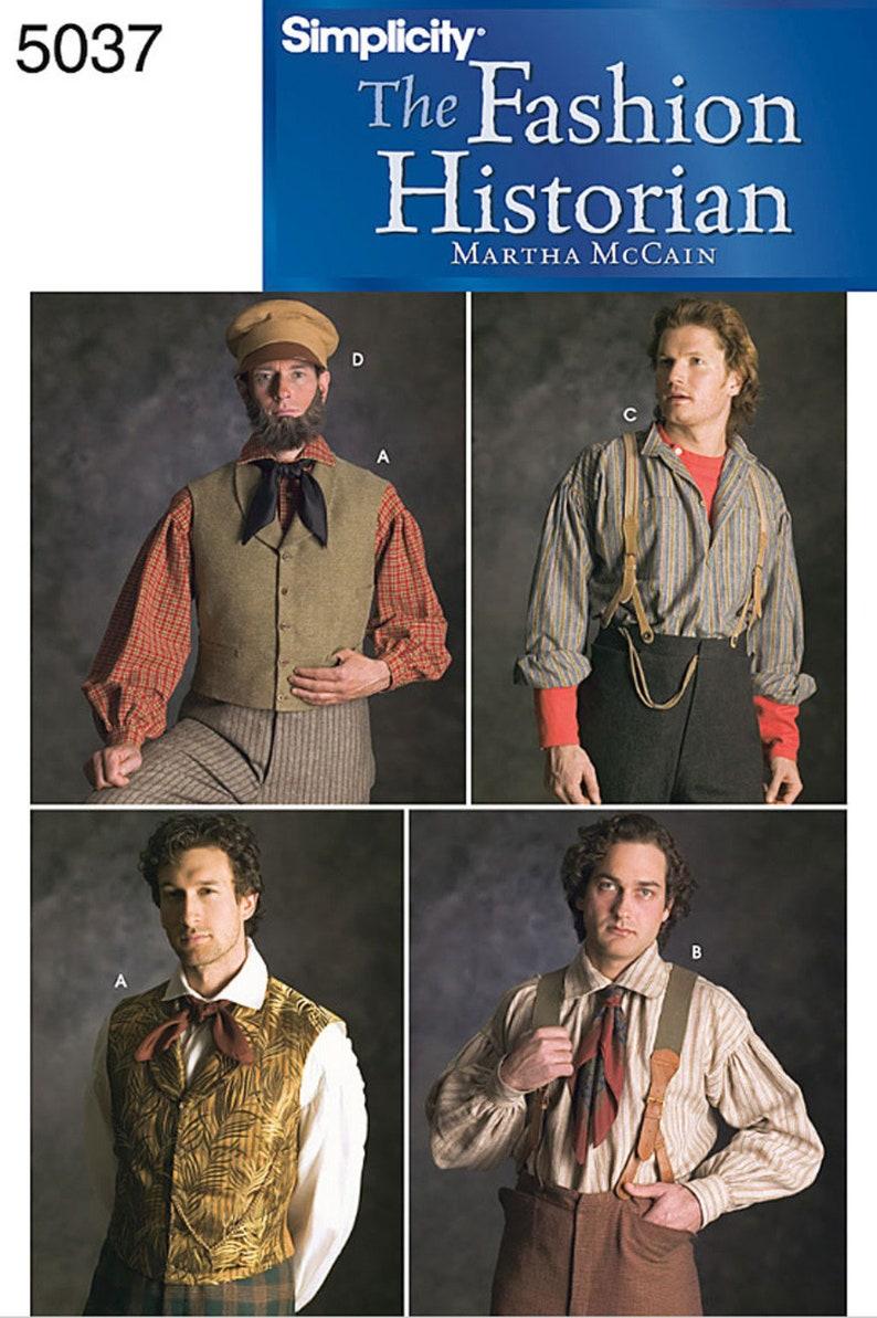 Men's Vintage Reproduction Sewing Patterns     Mens Civil War Victorian Vest Suspenders & Mechanics Hat Costume Accessories - Simplicity Sewing Pattern # 5037 $14.95 AT vintagedancer.com