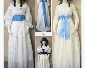 Robe en Chemise with Optional Train, Puffed & Long Sleeves, 2 Bodice Options circa 1790-1800 sizes 8-34 Laughing Moon Sewing Pattern # 133