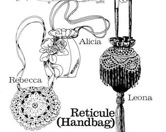 Ladies' 1800s Victorian Reticule Handbag in 3 Styles - Buckaroo Bobbins Sewing Pattern