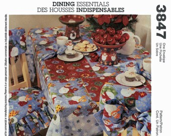 McCall's 3847 Dining Essentials Napkin, Placemat, Table Runner, Oblong Bordered Tablecloth, Chair Back Cover & Seat Cover Sewing Pattern