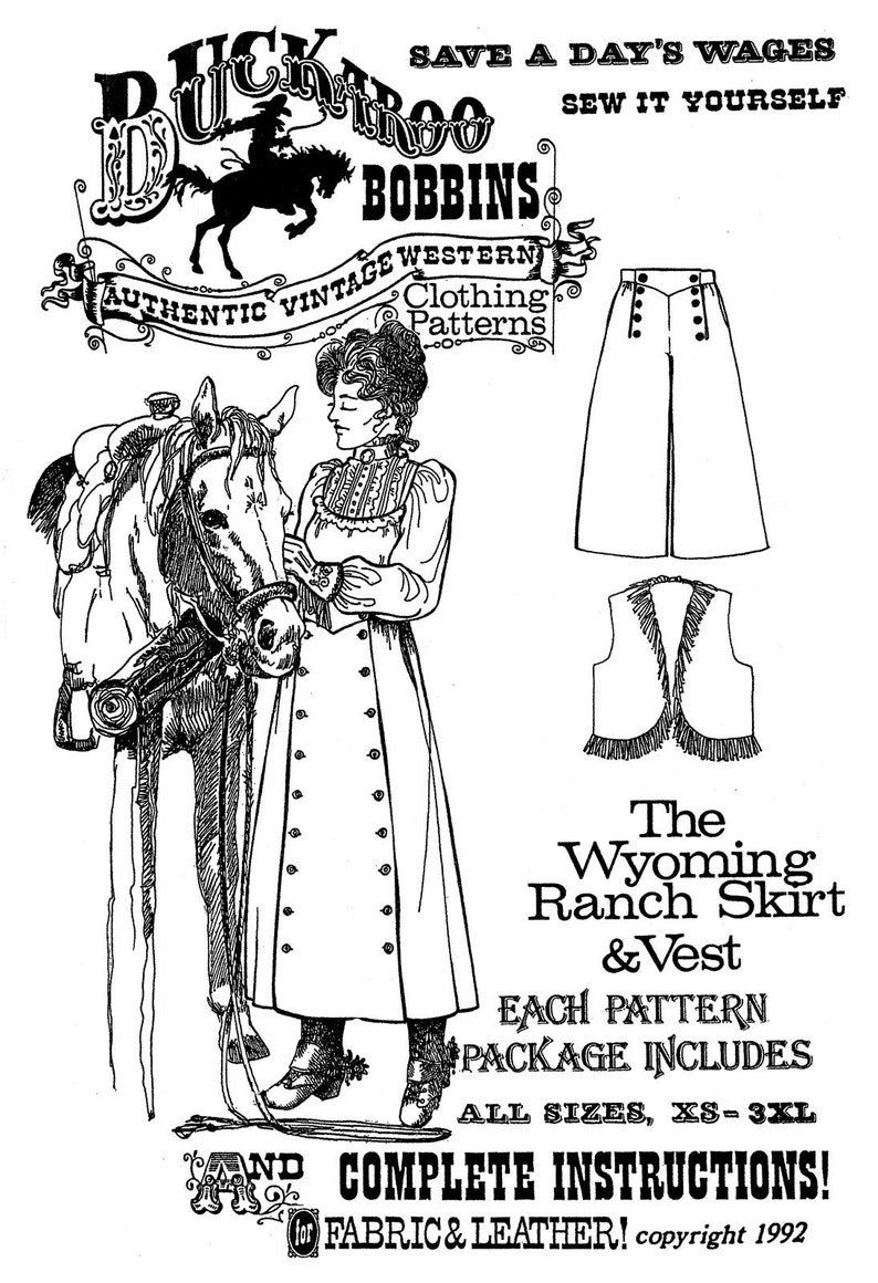 Vintage Western Wear Clothing, Outfit Ideas     Ladies Wyoming Ranch Skirt & Vest sizes XS-3XL - Buckaroo Bobbins Sewing Pattern - Cowgirl Riding Western Split Skirt $16.95 AT vintagedancer.com