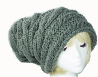Hand Knit Chunky Cable Knit Beanie Slouchy Hat | Gray Super Chunky Beanie Hat | Baggy Winter Hat Grey | Large