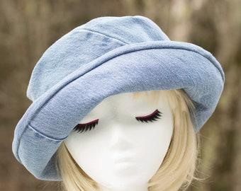 Denim  Rolled Curled Brim Cloche   Light Blue Summer Hat   Washed Denim Sun Hat   Blue Bucket Hat   Cotton Sun Hat Chambray Upturn Roll Brim