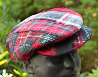 Patchwork Flat Cap in Red Tartan Plaid Wool   Drivers Cap Ivy Cap   Red Plaid Irish Driving Hat