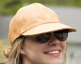 Leather Baseball Cap | Leather Strapback | Leather Panel Hat | Black Leather Adjustable Baseball Cap | Red Tan Genuine Leather Hats