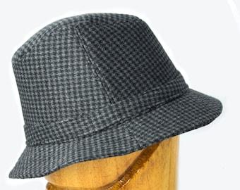Dr. Henry Jones, Sr. Fedora Houndstooth Wool Tweed English Walking Hat   Trilby Elgin Hat   Black, Brown, Grey Hounds Tooth   Cosplay Hat