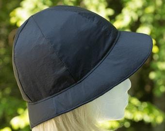Black Rainproof Bucket Hat   Women's Retro Black Cloche   Black Rain Hat   Cool and Lined Rainproof Summer Rain Hat   6 panel Brimmed Hat